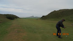 Jeff Thacker aims for Bamburgh Castle, on the 16th fairway