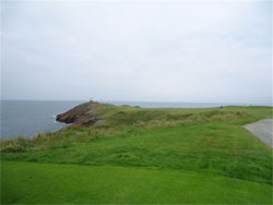 The daunting tee shot over the cliffs at the 13th (too daunting for Steve)