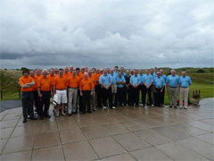 The two teams at Saunton Golf Club. Missing from photo is Howard Holliday (still on the motorway somewhere)