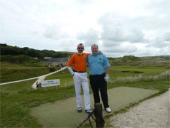The two team Captains, ready for battle to commence at Saunton